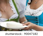 """Traditional womens dress from a """"Munich Beer Festival"""" visitor - stock photo"""