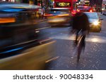 city traffic with motion blur at night in London - stock photo