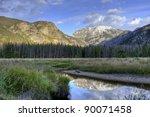 Reflection of mountains  in a pond. Colorado, USA - stock photo