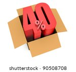 one open carton box with the 40 percent rate number that comes out (3d render) - stock photo
