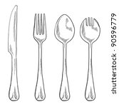 Doodle style eating utensils illustration in vector format including knife, fork, spoon, and spork - stock vector