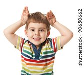 cheerful smiling little boy raised his hands up. Isolated on white background.  shooting in the studio - stock photo