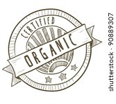 Doodle style certified organic food label in vector format - stock vector
