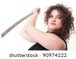 Girl - woman dark curly hair natural brown-haired holding hands katana sword - stock photo