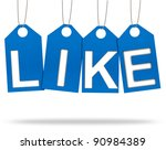 Like Tags Corrugated paper craft on white background - stock photo