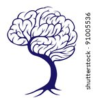 A tree growing in the shape of a brain - stock photo
