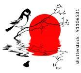 bird on branch silhouette on solar background, vector illustration - stock vector