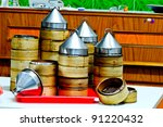 Chinese Traditional Bamboo for steaming Dimsum in Thailand - stock photo