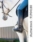 Lipizzaner White Horse with a rider and his/her boots - stock photo