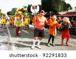 LIMASSOL,CYPRUS-MARCH 6, 2011: Unidentified people in the muppet show and  clown costumes  in carnival parade. - stock photo