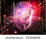 Collage of human head, digits and various abstract elements on the subject of artificial intelligence, modern science, computer technology and human and artificial mind - stock photo