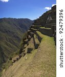 Detail of Machu Picchu western terraces. They were used both to agriculture and erosion prevention. - stock photo