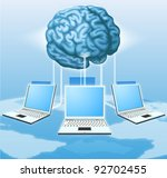 Computers connected to central brain, concept for distributed computing, crowd sourcing or other internet metaphor. - stock vector