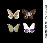 butterfly set on black - stock photo