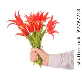 Hand holding flowers isolated on white - stock photo
