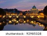 Rome at dusk: Saint Peter's Basilica after sunset. - stock photo