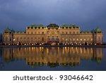 Schloss Belvedere at night in Vienna, Austria. - stock photo