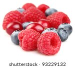 Fresh berries in a white background - stock photo