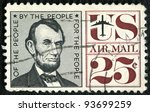 USA - CIRCA 1959: A stamp printed in USA shows president Abraham Lincoln (1809-1865), circa 1959 - stock photo