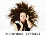 Beautiful Fashion Model with Big Hairstyle - stock photo