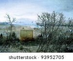 Dreamy surrealistic scene with butterflies streaming out of a magic trunk set in a winter landscape. - stock photo