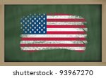 Chalky national flag of US painted with color chalk on blackboard illustration - stock photo