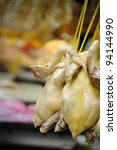 Fresh steamed chicken in Bangkok's Chinatown, Thailand. - stock photo