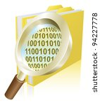 Conceptual illustration of magnifying glass searching binary data file folder - stock photo