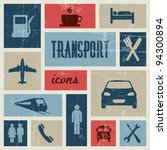 Vector vintage transport (traffic) poster - blue and red - stock vector