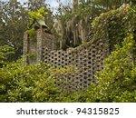 """Garden Wall"" A garden wall in the Brookgreen Gardens near Myrtle Beach in South Carolina. - stock photo"