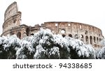 Coliseum with snow, Rome. - stock photo