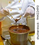 Chocolatier at work - stock photo