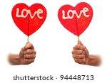 Pair sweet valentine lollipop - stock photo