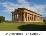 A view of Paestum Temple, Salerno, Italy - stock photo