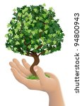 Conceptual illustration of a hand holding a growing tree - stock photo