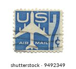 Old postage stamps from USA seven cent - stock photo