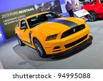 CHICAGO - FEB 8: The 2013 Ford Mustang Boss 302 Laguna Sec edition on display at the 2012 Chicago Auto Show Media Preview on February 8, 2012 in Chicago, Illinois.. - stock photo