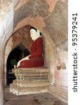 buddha statue at a ancient temple at Bagan,  Myanmar - stock photo