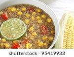 Bowl of healthy vegetarian amaranth corn chowder. - stock photo