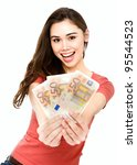 Young woman showing 150 euro happy and excited isolated on white background. - stock photo