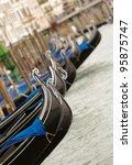 closeup of gondolas near Piazza San Marco in Venice, Italy - stock photo