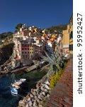 fishing village of Riomaggiore, Cinque Terre, Italy - stock photo