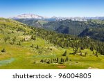Great view of the San Juan Mountains from Blackhawk Pass along the Colorado Trail. - stock photo