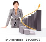Successful businesswoman with  growth graph - isolated over a white background - stock photo