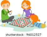 Illustration of a Family Playing a Board Game - stock vector