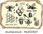 bee collection - stock vector