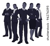Illustration of a young dynamic smart business team - stock photo