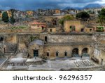 Ancient Ercolano city ruins in hdr - stock photo