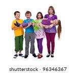 Kids having fun lifting their friend in their arms - isolated - stock photo