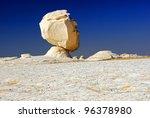 Unusual limestone formation in the White desert, Sahara, Egypt. Rock like man's head - stock photo